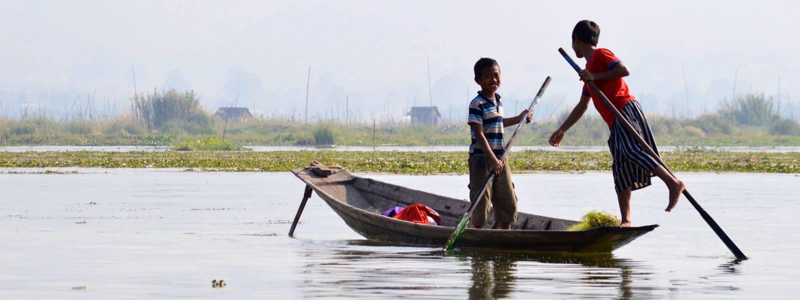 Inle Lake - Boys on Lake - Myanmar - Sampan Travel