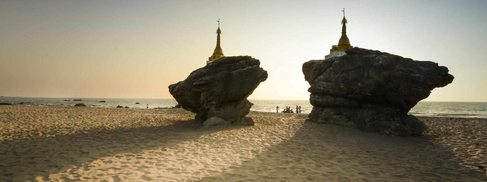 Ngwe Saung Beach - Twin Pagodas on Beach - Myanmar - Ko Thet