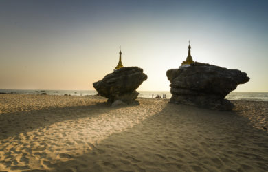 Ngwe Saung Beach - Twin Pagodas on Beach - Myanmar - Ko Thet
