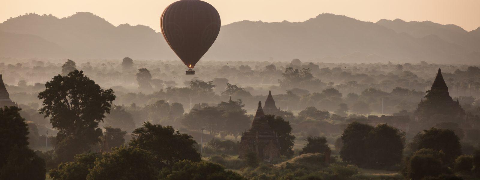 24 Hours in Bagan - Balloons with the trees - Myanmar - Sampan Travel
