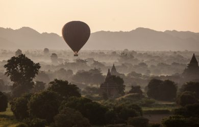 24 Hours in Bagan - Balloons with the trees - Myanmar - Sampan Travel
