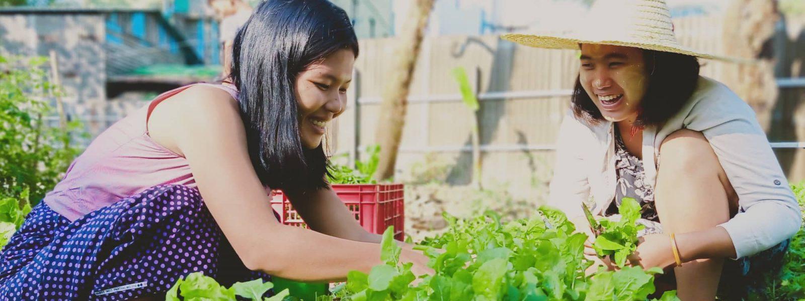Responsible Travel - girls in farm - Yangon - Sampan Travel